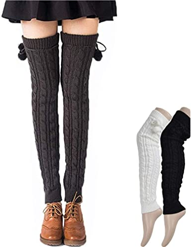 2 Pairs 27.5 Inch Long Knit Leg Warmers Over Knee Winter Leg Warmers High Footless Knee Socks for Women and Girls