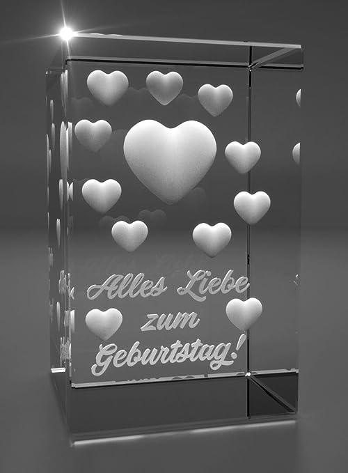 Vip Laser 3d Glas Kristall I Viele Herzen I Alles Liebe Amazon De