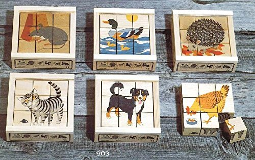 (Atelier Fischer Wooden Block Cube Puzzle in Wooden Case - Domestic Animals (9 Pieces))