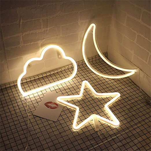 Amazon.com: Star Moon and Cloud - Cartel de neón con luz LED ...