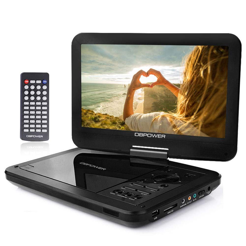 【Upgraded】DBPOWER Portable DVD Player with 10.5'' Swivel Screen, Supports SD Card/USB/CD/DVD with AV IN/OUT and Earphone Port, 5-hour Built-in Rechargeable Battery, Suitable for Car Headrest Mount