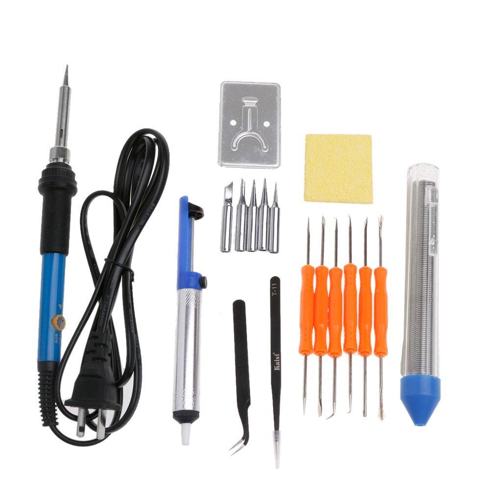 Techinal Adjustable Temperature 110V 60W Soldering Iron Welding Gun Heat Pencil Kit - 18 Pack, US Plug