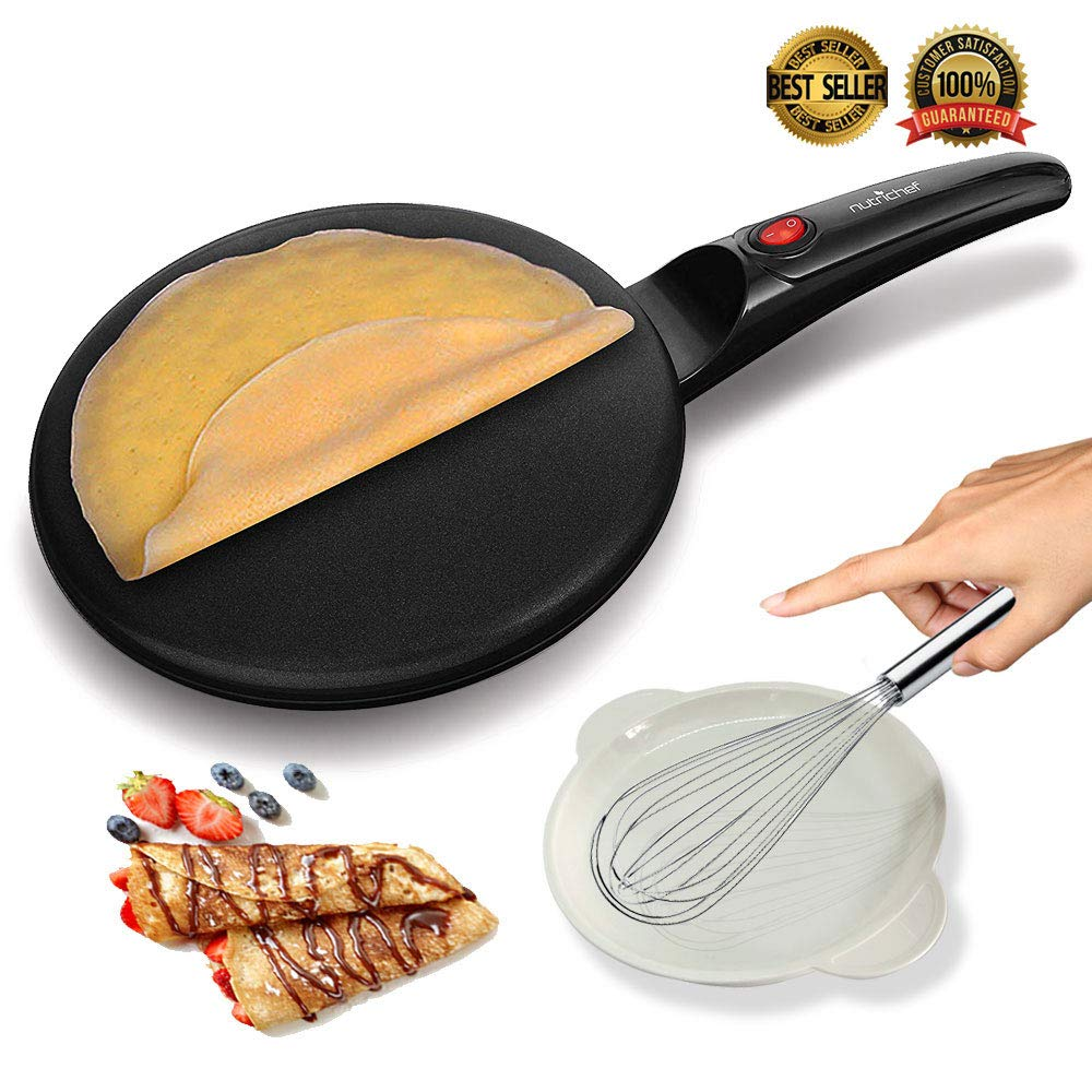 """NutriChef AZPKCRM08 Electric Griddle Crepe Maker Cooktop-Nonstick 8"""" Pan Style Hot Plate with On/Off Switch, Automatic Temperature Control & Cool-Touch Handle, Food Bowl & Spatula Included, Black"""