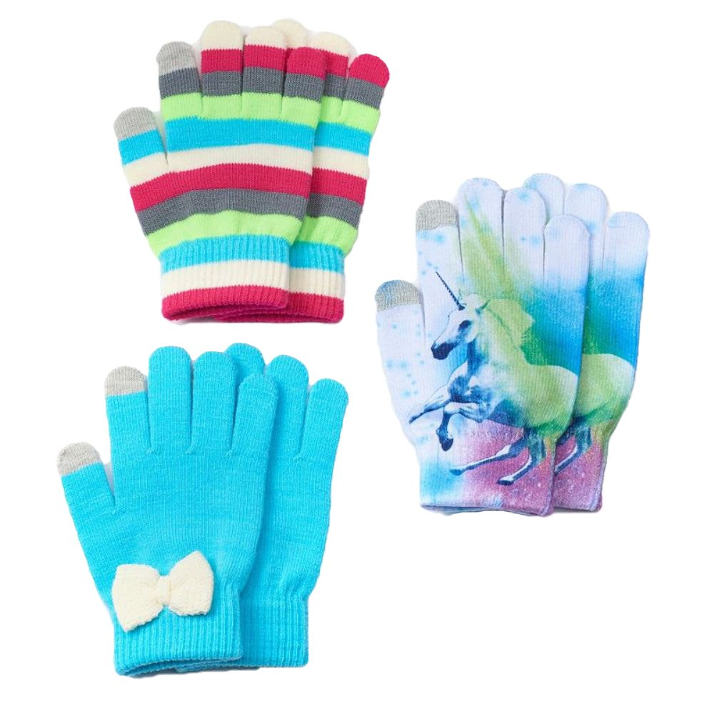 SO Little Girl 3 Pack Texting Gloves Set White Blue Unicorn M/L 7-16