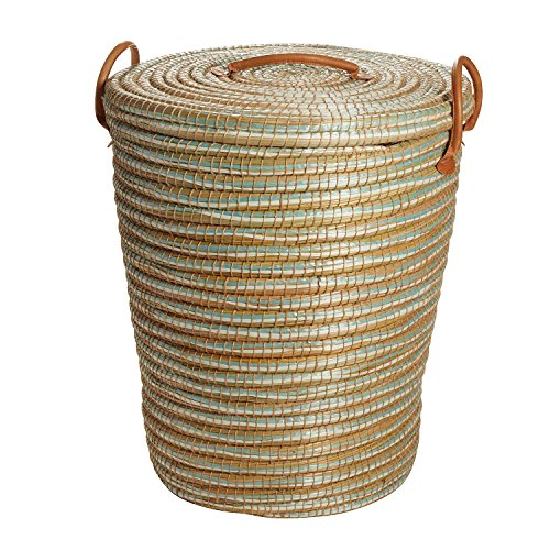 Ten Thousand Villages Natural and Aqua Round Coiled Kaisa Grass Hamper 'Calm Mood Hamper Basket'