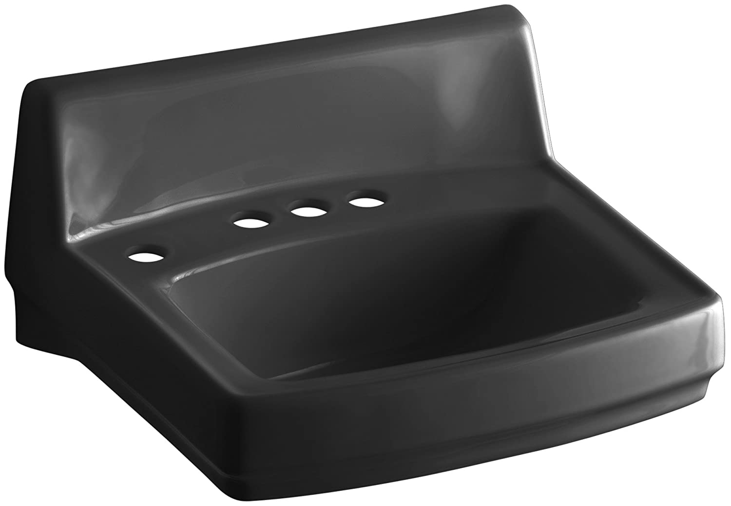 Kohler K-2032-L-7 Greenwich Wall-Mount Lavatory With 4  Centers And Soap Lotion Dispenser Drilling On Left, Black Black