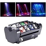 UKing ステージライト RGBW ムービングヘッド 舞台照明 8 LED ミニパーティーライト 移動ステージライト 照明効果 オート、音起動、DMX512 モード DJ、ショー、ディスコ、クラブ、バーに最適