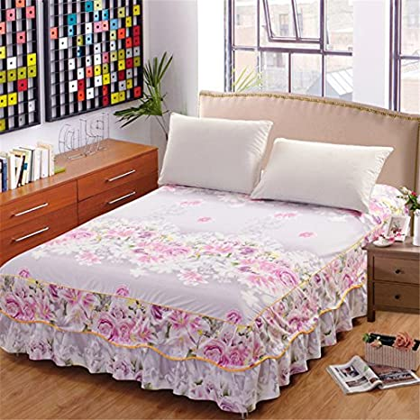 High Quality Cacys Store   Romantic Double Layers Bed Skirt Elegant Chiffon Bedspread  Satin Cotton Bed Sheet