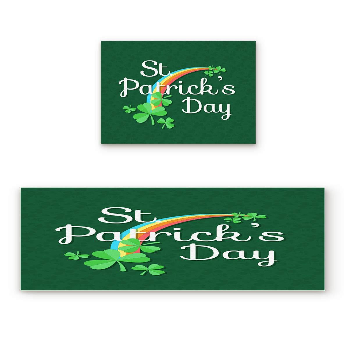 Shamrock rainbowFIY6857 23.6x35.4In+23.6x70.9In Findamy Non-Slip Indoor Door Mat Entrance Rug Rectangle Absorbent Moisture Floor Carpet for St. Patrick's Day Theme Doormat 23.6x35.4In+23.6x70.9In