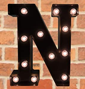 Pooqla Decorative LED Illuminated Letter Marquee Sign - Alphabet Marquee Letters with Lights for Wedding Birthday Party Christmas Night Light Lamp Home Bar Decoration N, Black