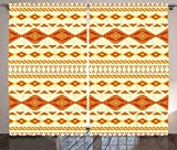 Cheap Ambesonne Native American Decor Curtains 2 Panel Set, Old Aztec Pattern with Vintage Colors Ethnic Mexican Indigenous Culture Print, Living Room Bedroom Decor, 108 W X 84 L Inches Yellow Orange