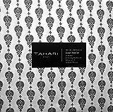Tahari Sheet Set 4 Piece Cotton Queen Black Floating Medallion Pattern on White