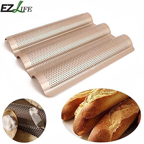 New Baguette French Bread Baking Tray 3-slot Non-stick Baguette Baking Tray Loaf Mould French Bread Pan Bake Tools CHW8894