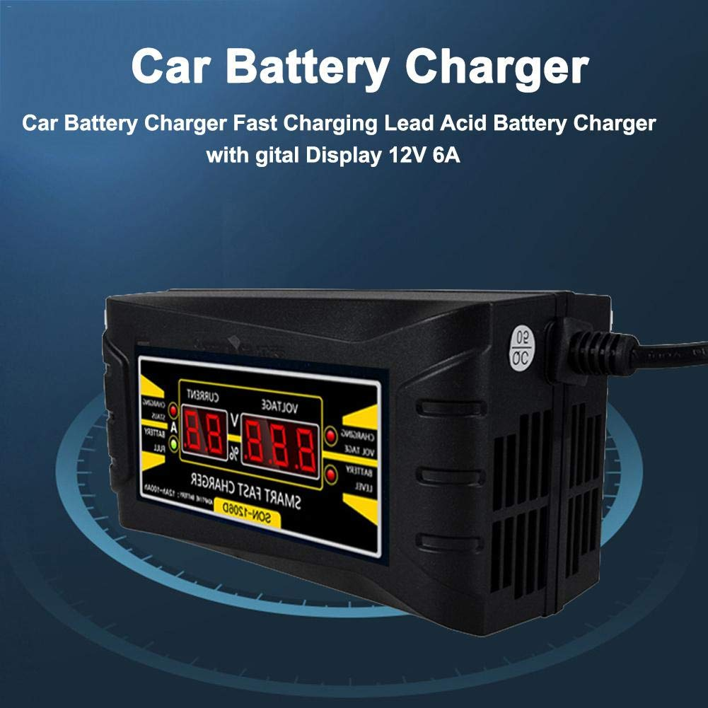 Luermeuk 12V 6A Automotive Smart Battery Charger Car Battery Charger Fast Charging Lead Acid Battery Charger with Digital Display for Car
