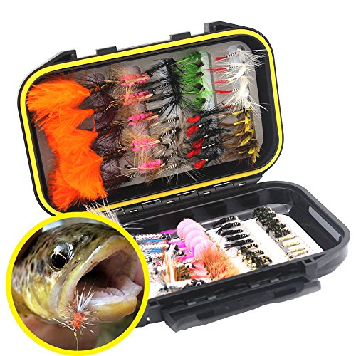 FlySoul Double Side Fly Fishing Dry Flies Wet Flies Nymph and Streamer Assortment Kit with Waterproof Fly Box for Bass Trout Fishing (Black)
