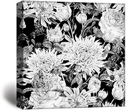 Square Flowers Petals in Black White