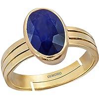 Gemorio Blue Sapphire Neelam 3cts or 3.25ratti Stone Panchdhatu Adjustable Ring for Men