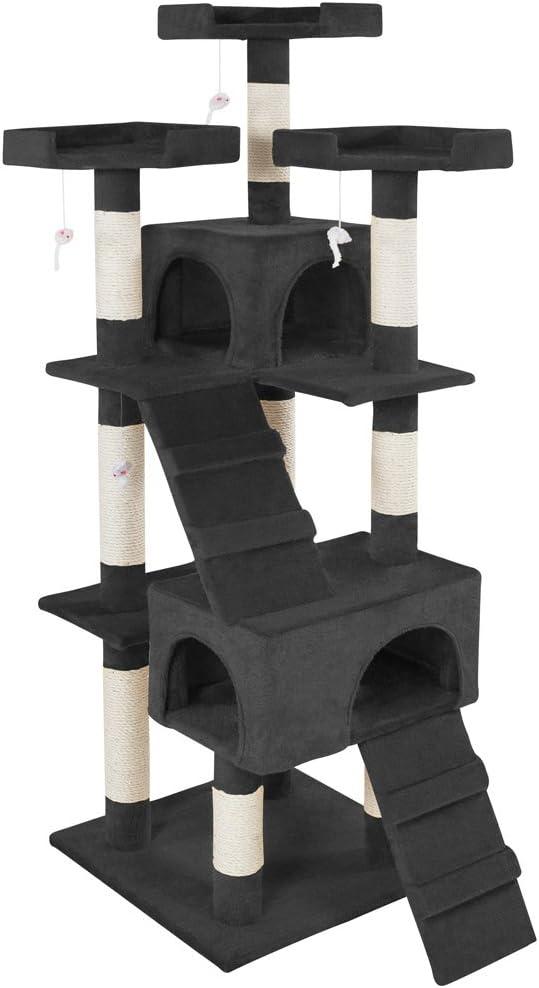 TecTake Rascador Árbol para Gatos Sisal (Negro   No. 400929)