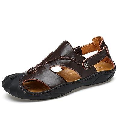 Einfach Sandaletten Herren Sommer Rundzehen Offenen Peep-Toe Entspannt Atmungsaktive Rutschfest Sandalen Schwarz 38 EU 8gyKWG