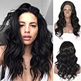 Black Body Wavy Glueless Women Party Daily Makeup Synthetic Lace Front Wigs Review