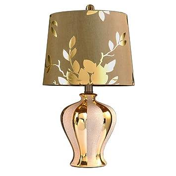 JJJJD Lámpara de mesa Decorativa Dorada Lámpara de ...