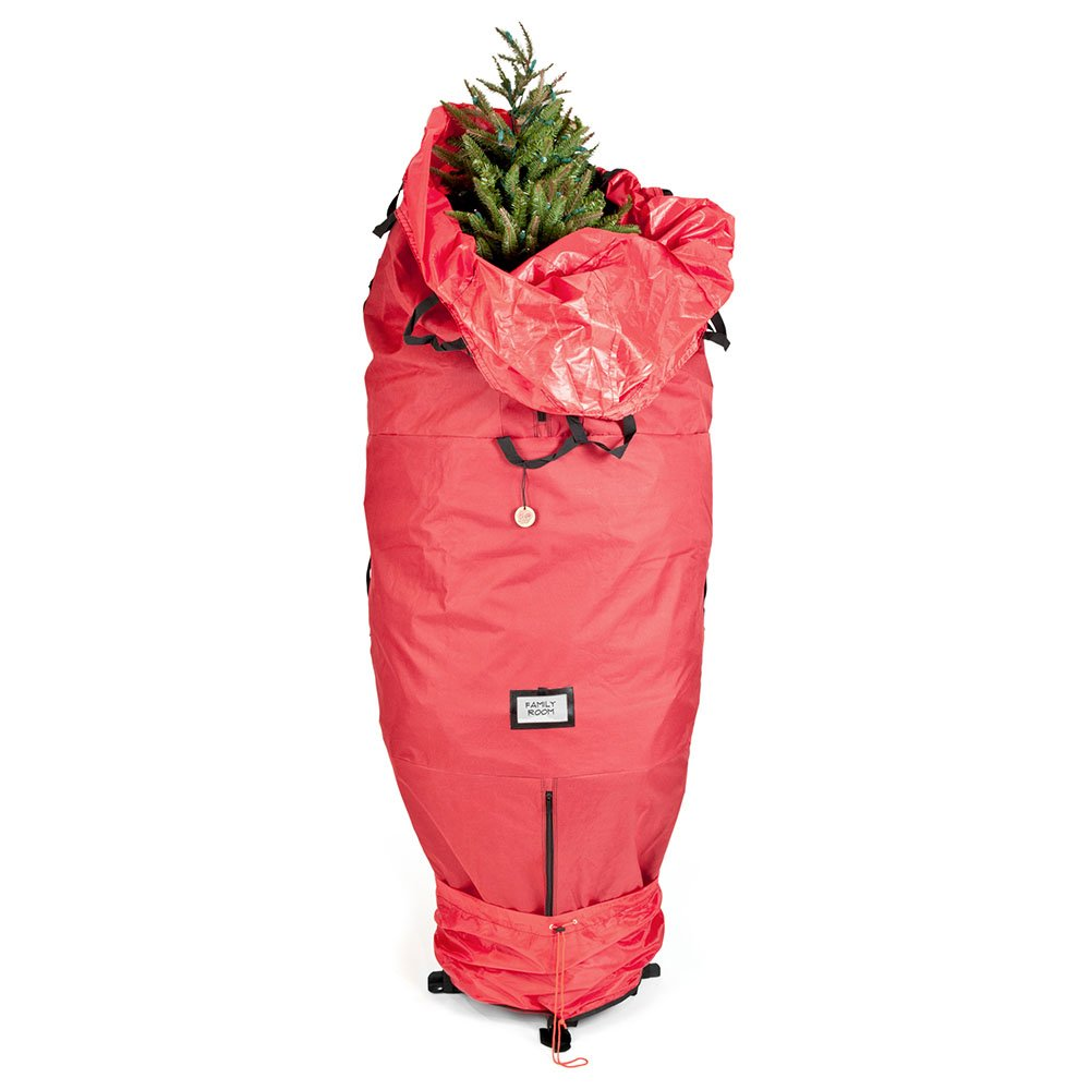 [Red Upright Tree Storage Bag] - 9 Foot Christmas Tree Storage Bag | Store Your Artificial Trees up to 9 Feet Tall - Keep Your Fake Tree Assembled | Hides Under Tree Skirt When Your Tree Is in Use by Santa's Bags