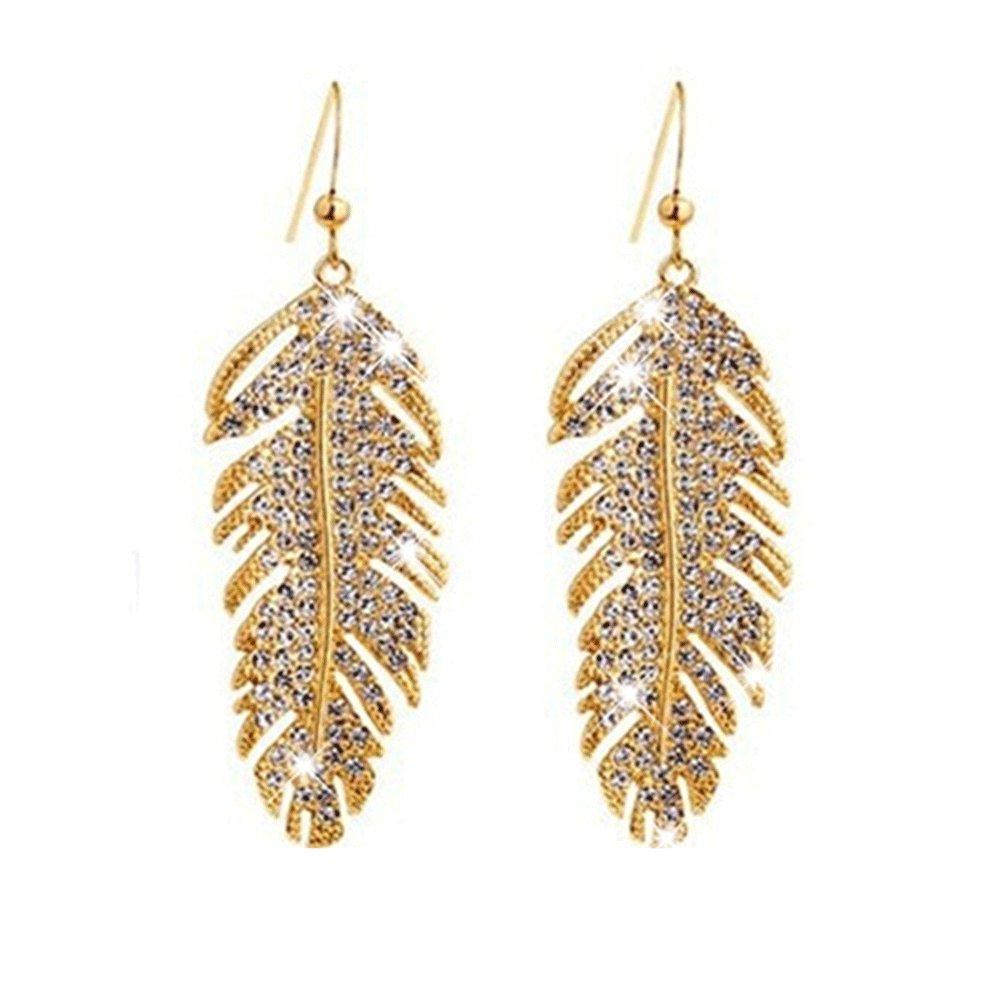 Spiritlele Elegant Crystal Feather Earring Sparkling Rhinestone Wing Leaf Eardrop Jewelry Women HLL-011-1