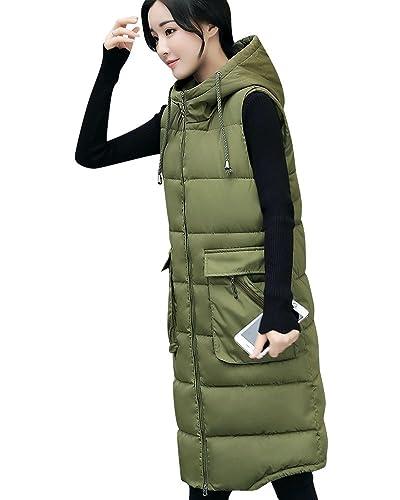 Mujer Abrigos De Invierno Sin Mangas Calor Largos Chalecos Con Capucha Verde del ejército 2XL