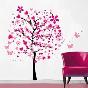 Cartoon arbre papillon diy stickers muraux ividz arbres stickers muraux papier peint amovible stickers muraux