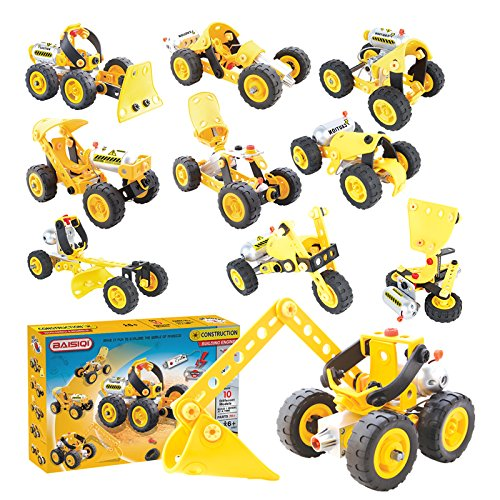 10-in-1 DIY Building Construction Truck Robot Car Rover Set Electric Motor Included, STEM Educational Toy Child Safe Soft Flexible Material - Power Rangers Diy