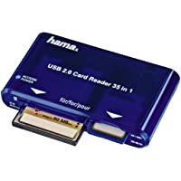 Hama - USB CardReaderWriter 35in1, USB 2.0/1.1, 20 MB/s, 480 Mbit/s, Azul, 97 x 57 x 17 mm, 65 g