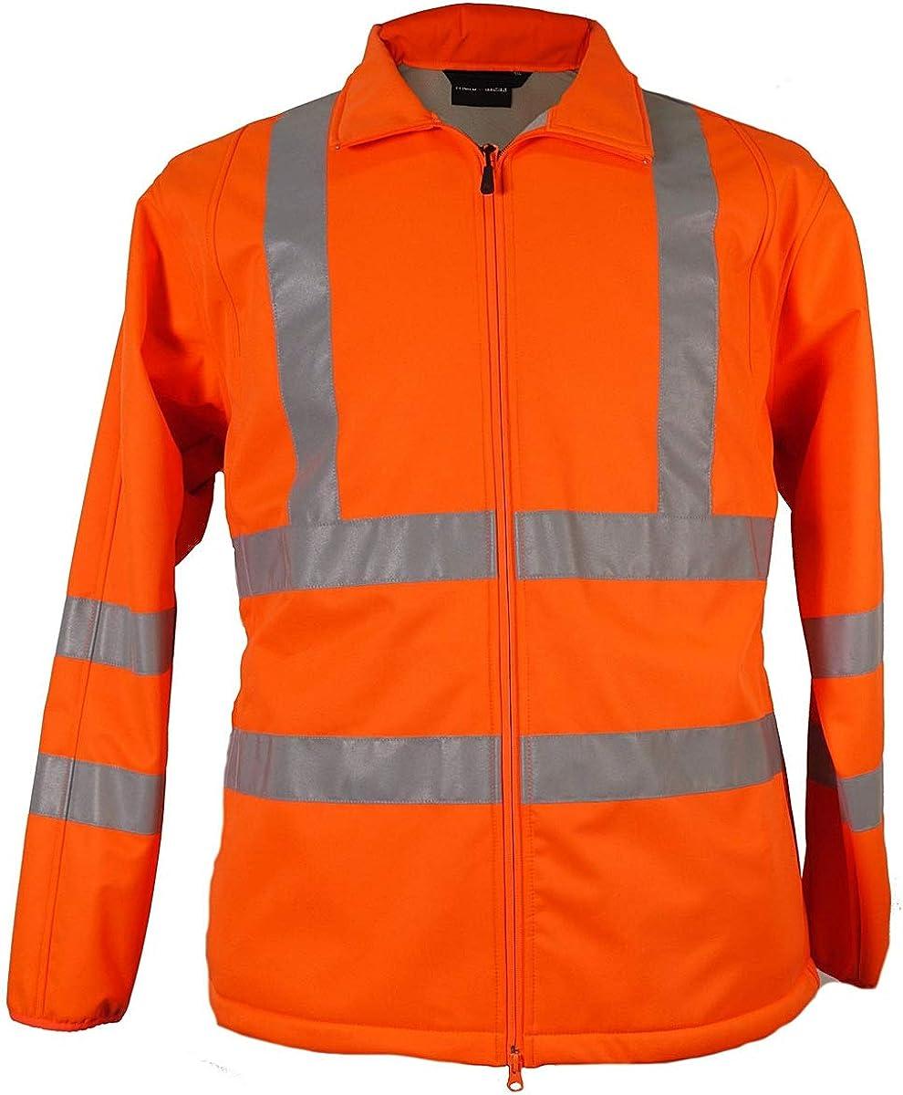 Übergrössen Arbeits Softshelljacke Weste Marc Mark Reflektorstreifen Orange 8xl Bekleidung