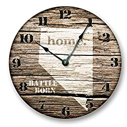 NEVADA State Wall Clock old weathered boards rustic cabin country decor