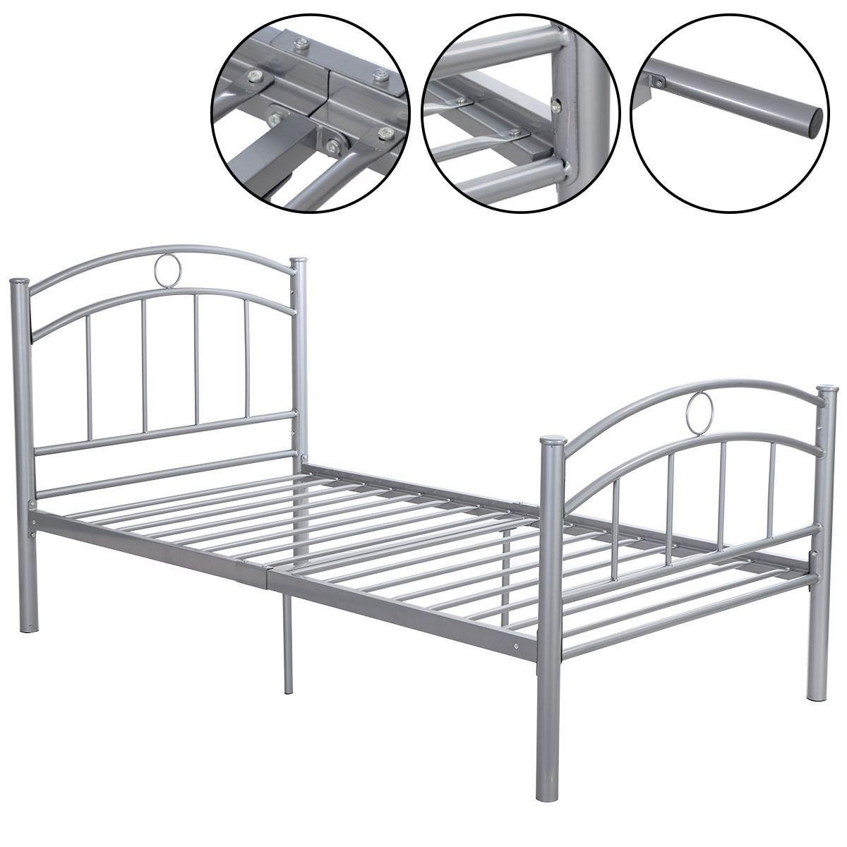 MasterPanel - 83''x43''x42''Sliver Metal Bed Frame Platform Twin Size Bedroom Home Furniture #TP3243