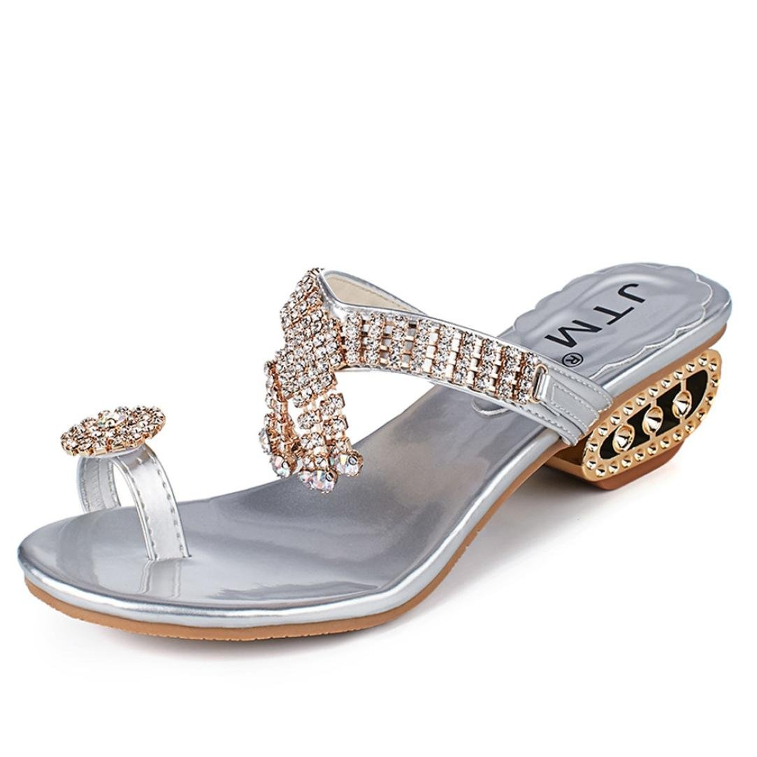 ZOMUSAR Sandals Slippers, Women Fashion Sandals Flip Flop Rhinestone Wedges Crystal High Heels Shoes (US:8, Silver) by ZOMUSAR
