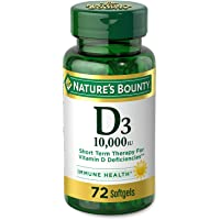 Nature's Bounty Vitamin D for Immune Support and Promotes Healthy Bones, 10000IU, Softgels, Multi-Color, 10,000 IU, 72…