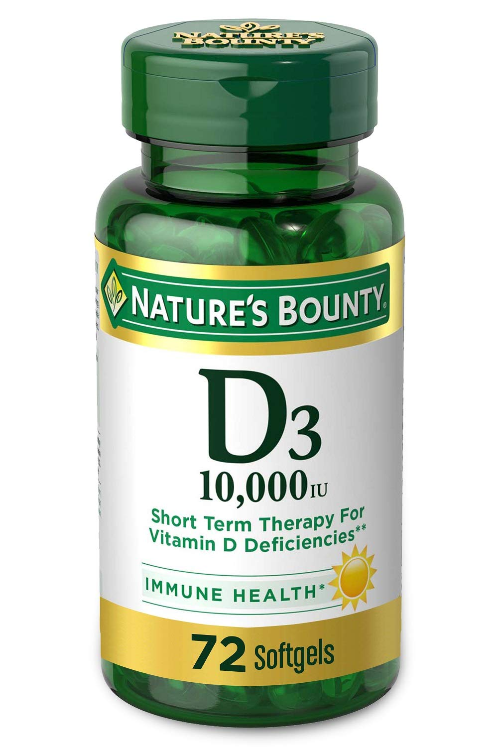 Nature's Bounty Vitamin D for Immune Support and Promotes Healthy Bones, 10000IU, Softgels, Multi-Color, 10,000 IU, 72 Count (Pack of 1)