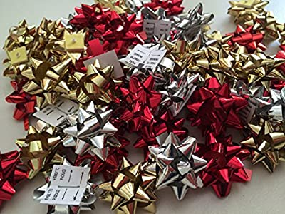 PEPPERLONELY Brand 50PC Red Gold Silver 1 Inch Metallic Christmas Mix Gift Wrap Bows