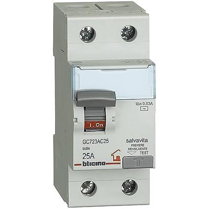 Schema Collegamento Differenziale Magnetotermico : Bticino gc723ac25 btdin interruttore differenziale salvavita 2