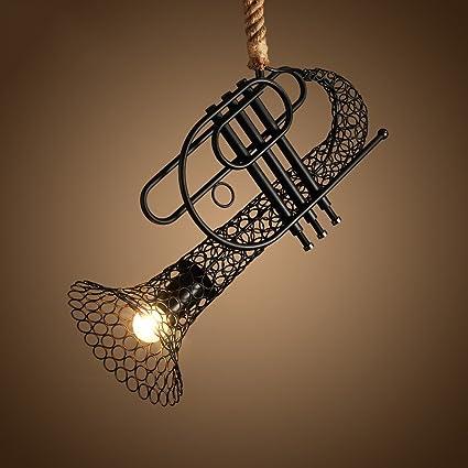 Pumpink Nórdico Estilo Americano Rural Encaje Cromo De Cuerda Trombón De Saxofón Colgante Lámpara Chandelier LOFT