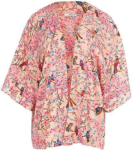 Mujer Rosa Aves Orientales Estampado Chaqueta Kimono Suéter - Rosa, 22: Amazon.es: Ropa y accesorios