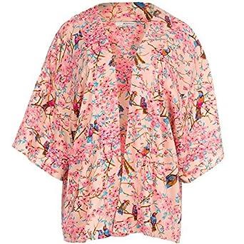 Mujer Rosa Aves Orientales Estampado Chaqueta Kimono Suéter ...