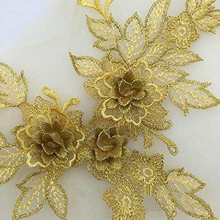 champagne gold 3D flowers Embroidered Bridal Applique for Dance Costumes Bridal Gown Hem Accessories gold 3D lace applique