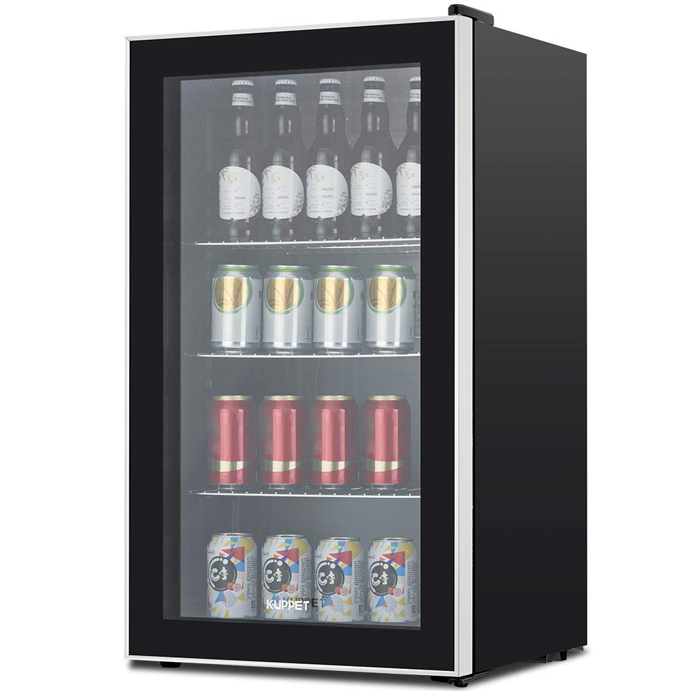 KUPPET 120-Can Beverage Cooler and Refrigerator, Small Mini Fridge for Home, Office or Bar with Glass Door, Perfect for Soda Beer or Wine, Black&Stainless Steel, 3.1 Cu.Ft by KUPPET