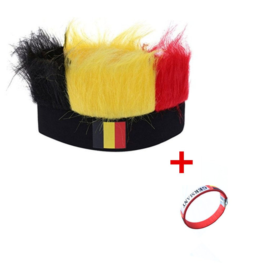 06b683e37d0 EBSHOW 2018 World Cup Football Fans Hats Headband with Colorful Fur Wig  Ployester Stretchy National Flag Headwear Cap 3-Pack (Germany)   Amazon.co.uk  Sports ...