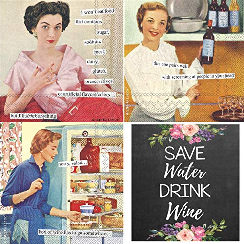 (Funny Wine Napkins for Women Set - Anne Taintor Cocktail Napkins With Sayings, Vintage Retro Humorous Witty Meme Paper Napkin - Total of 60 with Wine Label)