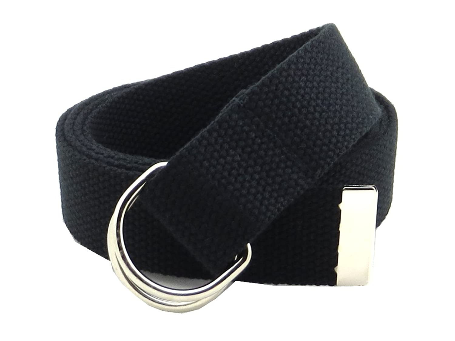 """Canvas Web Belt D-Ring Buckle 1.25"""" Wide Metal Tip Plus Size XXL and XXXL"""