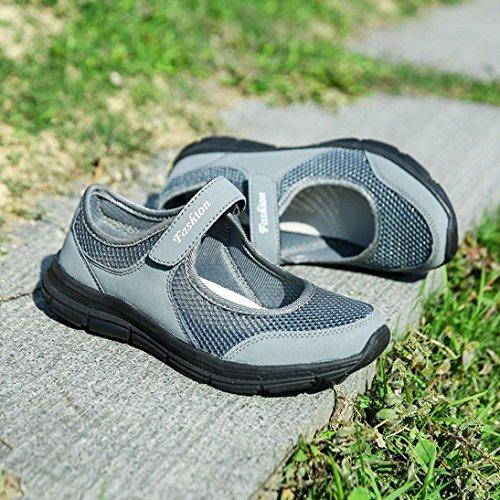 Deportes Sneaker Mocasines Malla Verano QinMM Zapatos Zapatillas Sandalias Respirable Gris Plataforma Oscuro Casual Mujer IHpqgx4q