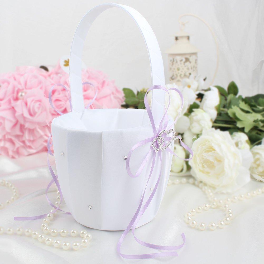 Amazon.com: OurWarm Flower Girl Basket & Ring Bearer Pillow Decor ...