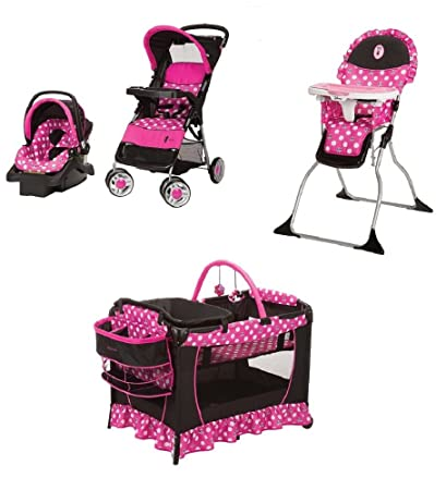 4 Piece Minnie Mouse Newborn Set Stroller Car Seat High Chair Play Yard Bundle Baby Gear